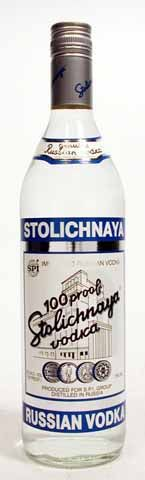 """Stolichnaya 100 Proof (Blue Label)   Imported Russian Vodka Stolichnaya 100 is the higher proofed version of the famous vodka known by its blue label (and occasionally referred to as """"blue label Stoli"""")."""