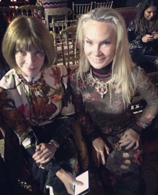 Anna Wintour and I front row at the Roberto Cavalli runway show in Milan. Such an honour to sit with the editor-in-chief of Vogue Magazine