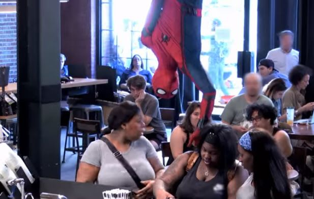 #SpiderManHomecoming Grabs #Coffee #Prank #Video features Customers at a #NewYork City #Starbucks are in for a surprise when #SpiderMan drops down on his #web to grab his coffee order.  - #映画 #エンタメ #セレブ & #テレビ の 情報 ニュース from #CIAMovieNews / CIA こちら映画中央情報局です
