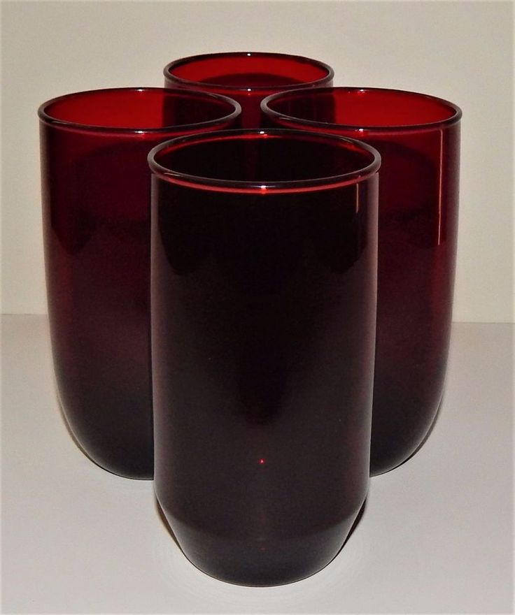 4 ANCHOR HOCKING ROYAL RUBY RED ROLY POLY TUMBLERS Post DEPRESSION Glass  #AnchorHocking #ROLYPOLY