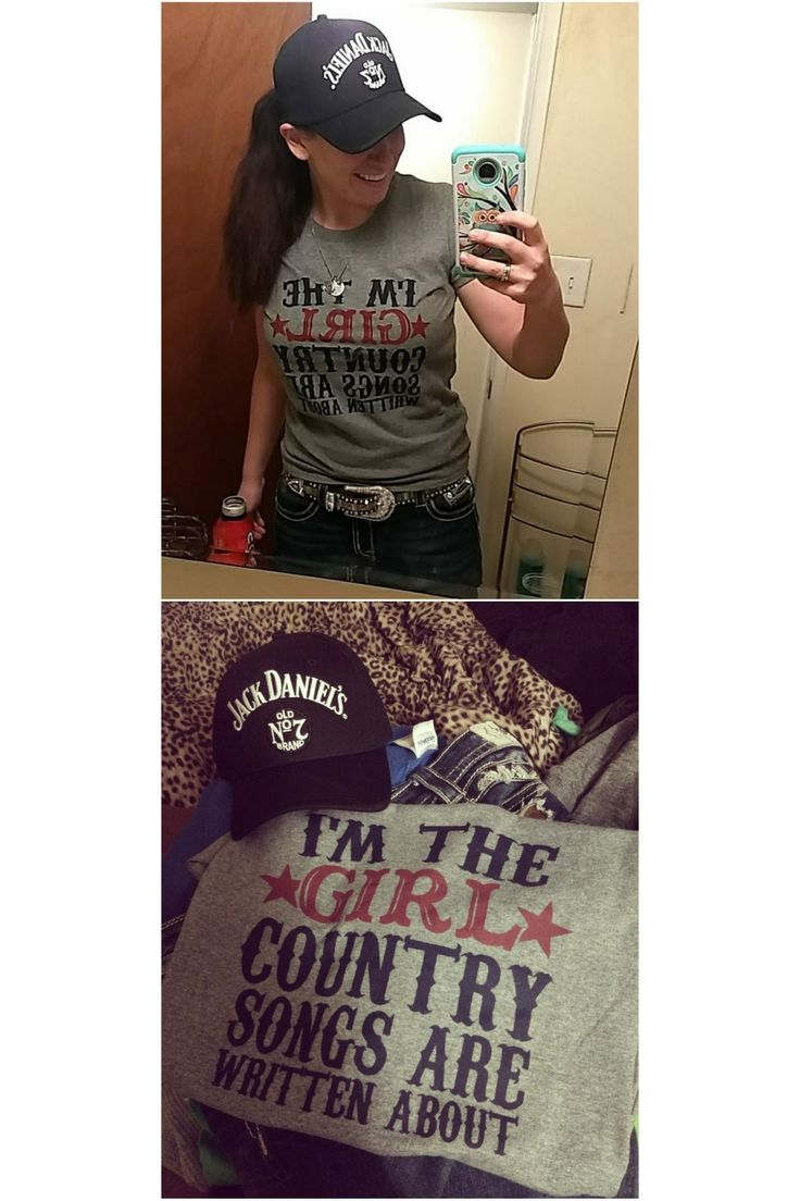 Perfect country concert outfit  Jack Daniels whiskey country music casual style country girl add some nice jelwery jeans and boots sometimes the ball cap pony tail look works best. Would've worn earrings if I wasn't allergic