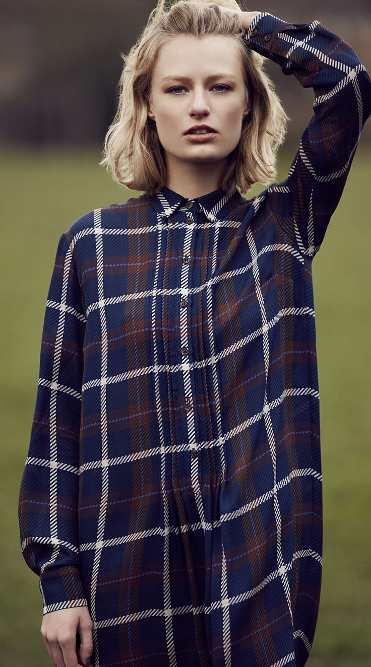 Want to be super chic? Pure Wear this Silk Large Checked Shirt Dress completed with a pair of brogues from the Best of British range.