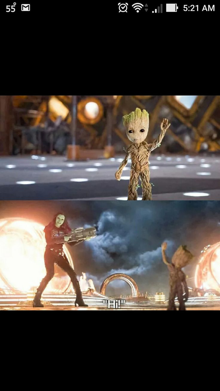 Can we talk about this for a minute gannora is literally in the battle and she says hi to baby Groot