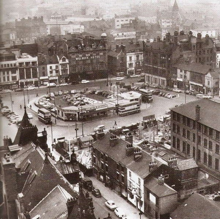 Interesting photograph of Trinity Square Café, Nottingham, from the early 1960s; after the demolition of the church, but before the car park was built.