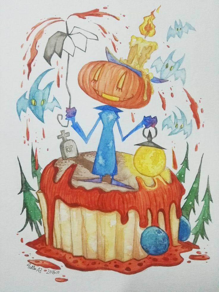 """Bang! Pumpkin Chocolate Muffin Complete !!"" pumpkin Muffin cake Chocolate muffin Halloween watercolor"