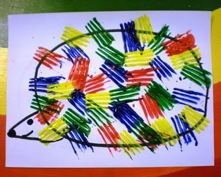 P for porcupine - use a fork to paint the quills
