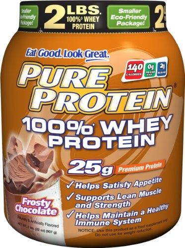 Pure Protein whey protein powder.    Very simple stuff, just a bit of stevia.  Nothing fake!