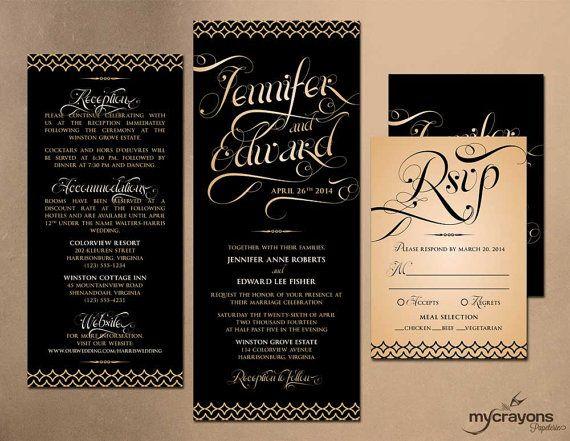 Diamonds and Swirls Calligraphy Wedding Invitation Set // DIY Printable // Black, Gold,Peach on Etsy, $35.00