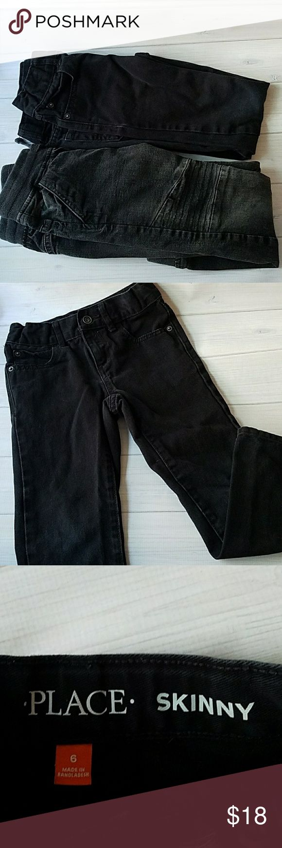 Bundle of Boys Black Jeans Skinny and Jogger Style All Black are Children's Place - Skinny Style  Size 6  Black With Drawstring are H&M - Jogger Style Size 5-6 yrs Children's Place Bottoms Jeans