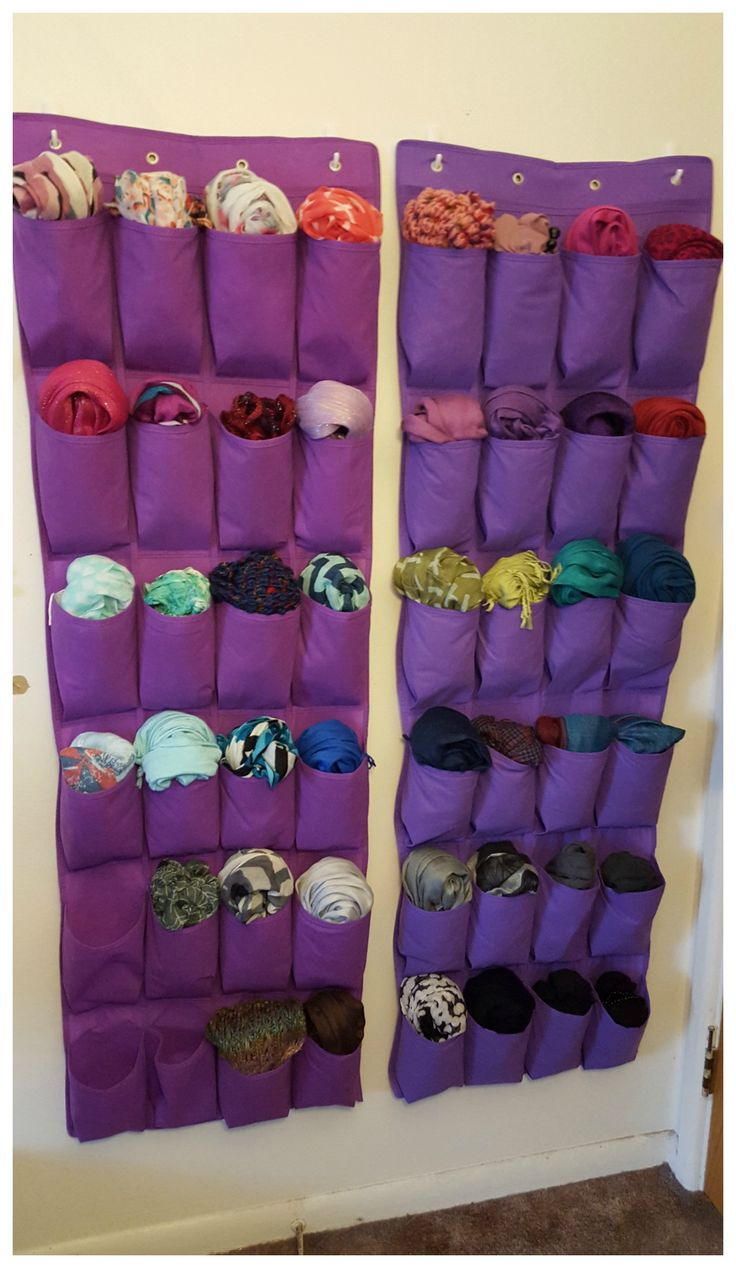 Love #scarves but don't know how to store them? Then this cute #storage idea is for you! Use hooks and hanging shoe files to keep all of your favorite BeltOutlet.com scarves neat and #organized on your wall! This will save you space and time by having the scarves easily accessible as you run out the door.
