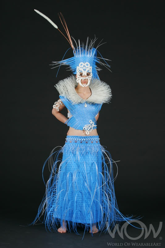 INTO THE BLUE:MAORI LIVING IN A THERMOPLASTIC WORLD, Marie Gant Roxburgh, Christchurch. Off the Wall:WearableArt Up Close touring exhibition