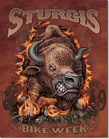 sturgis bison bw tin sign
