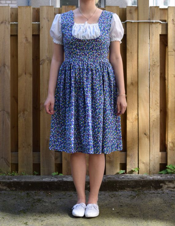 Vintage 60's dress blue flowers EA34 by FamousApe on Etsy