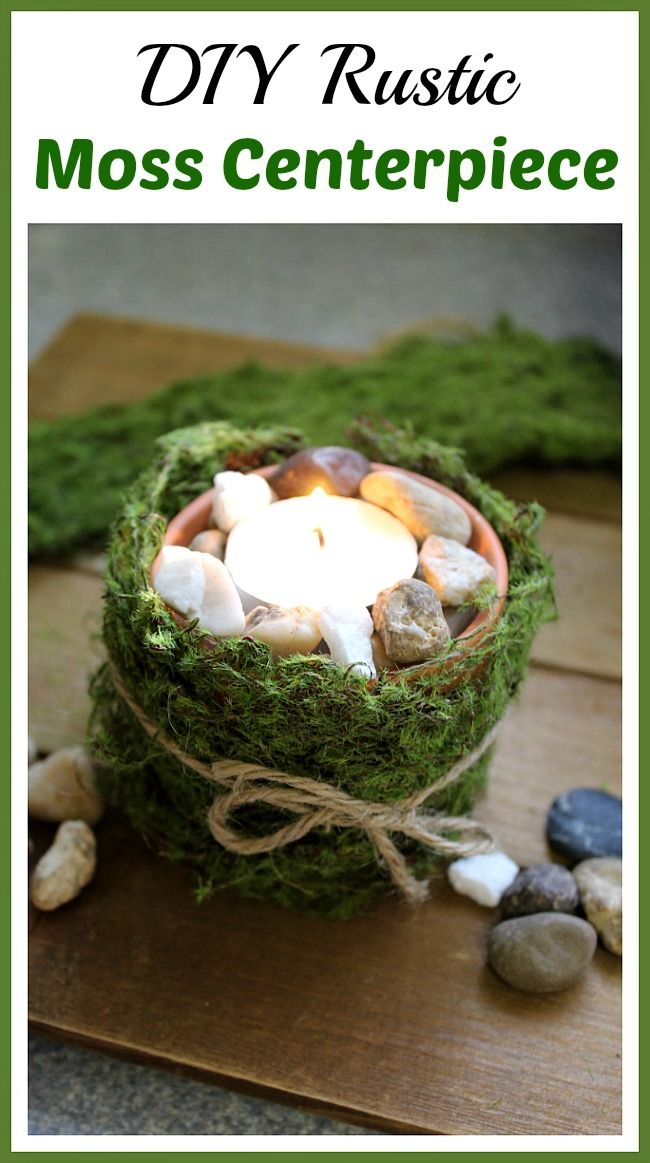 This DIY Moss Covered Candle Holder makes a gorgeous rustic moss centerpiece for inside your home or out on the patio!