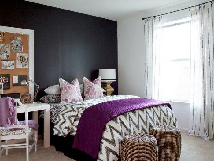 Die Farbe Lila Krasse Akzente Schlafzimmer Streifengardinen   Schlafzimmer  Lila Grau