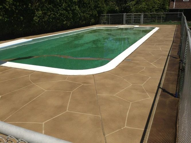 Epoxy Pool Deck Finishes : Concrete overlay faux flag stone look epoxy flooring by