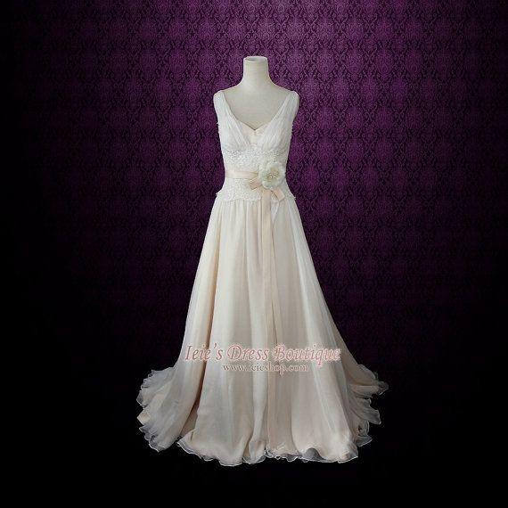 Grecian Silk Chiffon Wedding Dress  Lace Chiffon Grecian by ieie, $499.95