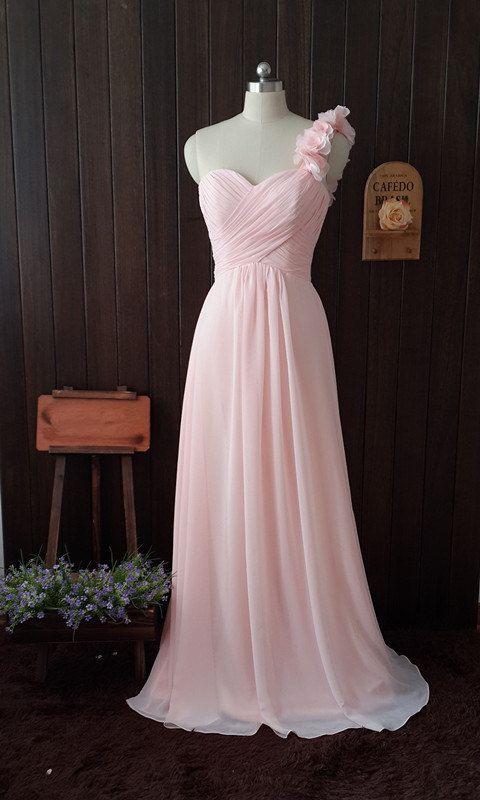 Une épaule Sweetheart longue perle de robe de demoiselle d'honneur rose en mousseline de soie robe 2015
