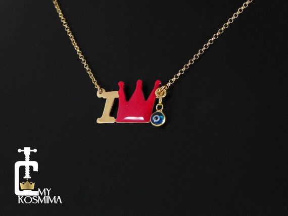 Handmade personalized initial necklace24K gold plated by MyKosmima