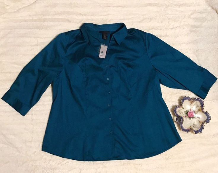 Lane Bryant Plus Size 24 Career Blouse Fitted Shirt NWT Button Top Teal Blue #LaneBryant #ButtonDownShirt #Career