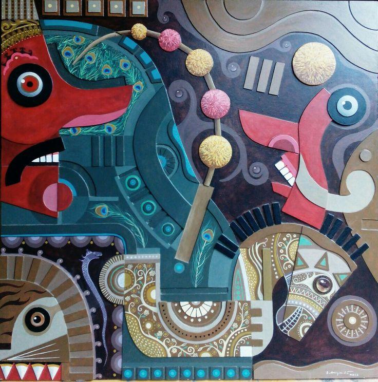 REYOG PONOROGO - KOLASE ONBOARD 120X120cm   S. ARIYADI  #art #kolase