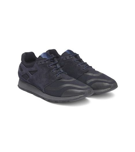 ZZEGNA: Sneakers Logo detail Sueded Plain weave Leather  Blue 44878868DN