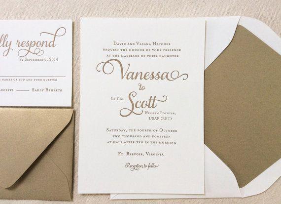 Beautiful The Garden Rose Suite, Classic Letterpress Wedding Invitation Suite, Gold,  White, Formal