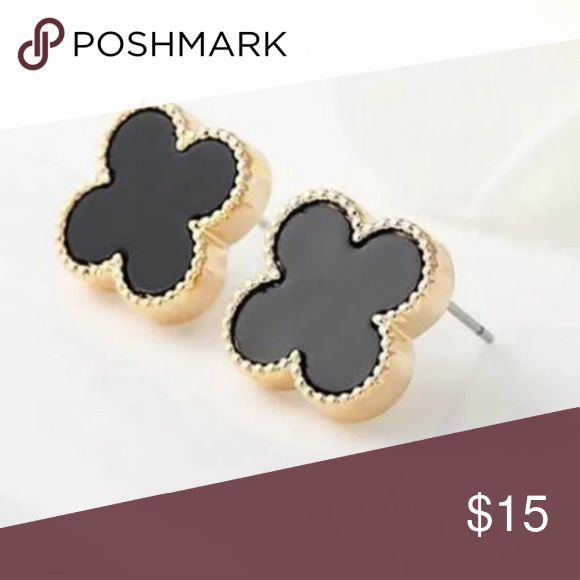 Black & Gold Clover Stud Earrings NWT Black & Gold Clover Stud Earrings NWT Great holiday gift! (see listing for other color) Jewelry Earrings