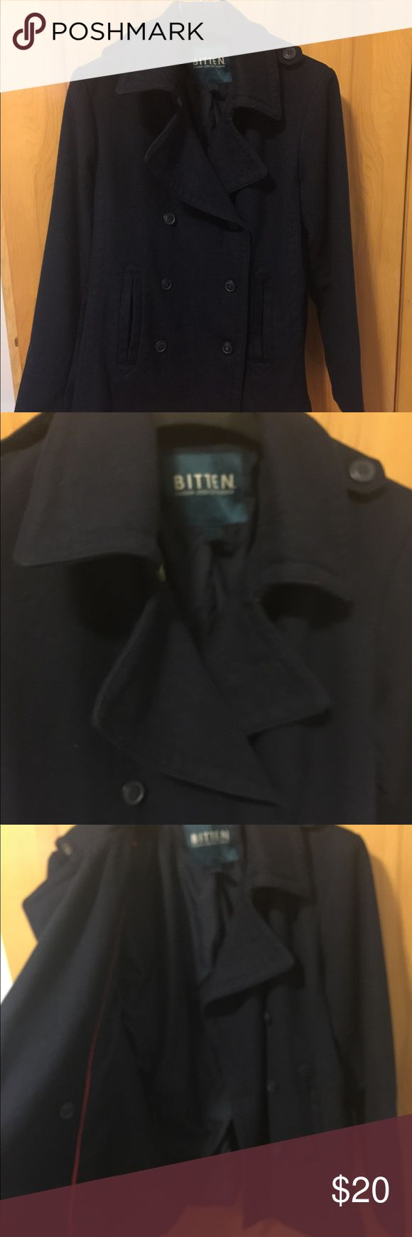 Bitten by Sarah Jessica Parker Navy Pea Coat XL Bitten by Sarah Jessica Parker Navy Pea Coat from Steve & Barry's Size XL Shorter length: lays at hip area. Really flattering and cute! SJP by Sarah Jessica Parker Jackets & Coats Pea Coats
