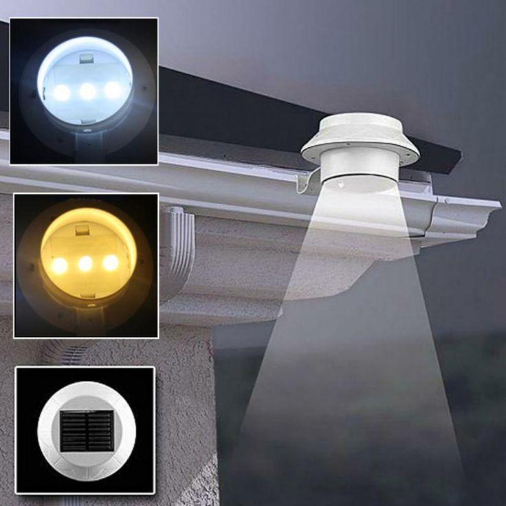 LED Solaire Lumière Solaire Extérieure Puissance 3 Led Lumière Jardin Clôture Cour Mur Gutter Pathway Lampe FEN #