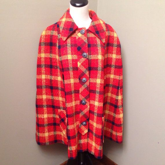 Knitting Pattern Cape Arm Slits : Vintage Pendleton button front plaid wool cape with side arm slits and a 49er...