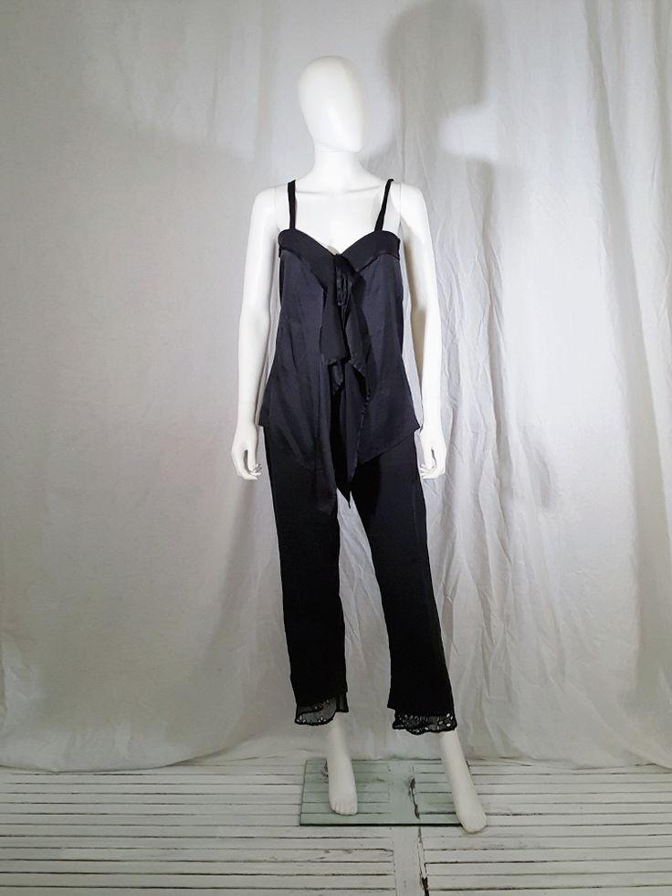 Ann Demeulemeester black tie-front draped top — spring 2002. Shop vintage designer clothing and second hand runway garments from avant-garde brands at Vaniitas.
