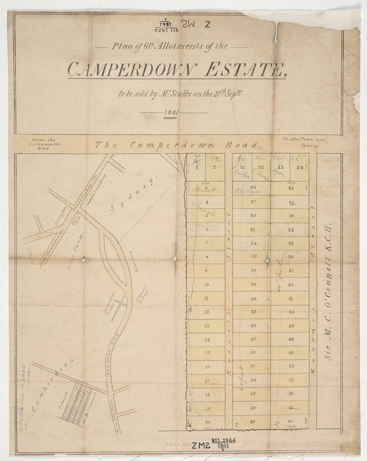 Raphael Clint, Plan of 60 allotments of the Camperdown Estate. 1841. State Library of New South Wales: http://library.sl.nsw.gov.au/record=b2272261