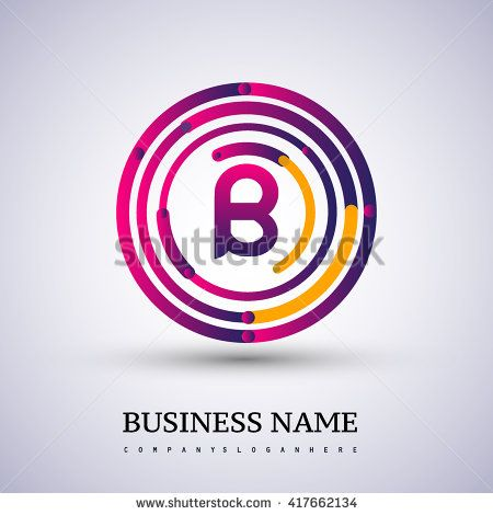Letter B vector logo symbol in the colorful circle thin line. Vector design template elements for your application or company identity. - stock vector