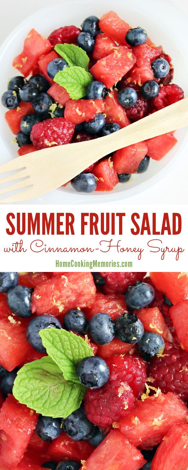 Perfect treat or easy side dish for hot summer days! This Summer Fruit Salad recipe with Cinnamon-Honey Syrup is quick to make with fresh watermelon, colorful berries (blueberries & raspberries), lemon zest and a bit of a sweet cinnamon honey syrup. Great for taking to summer cookouts or potlucks.