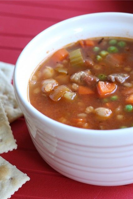 Vegetable Beef and Barley Soup - Prepare for fall and a busy school year by mixing up a pot of this delicious homemade soup, chocked full of...