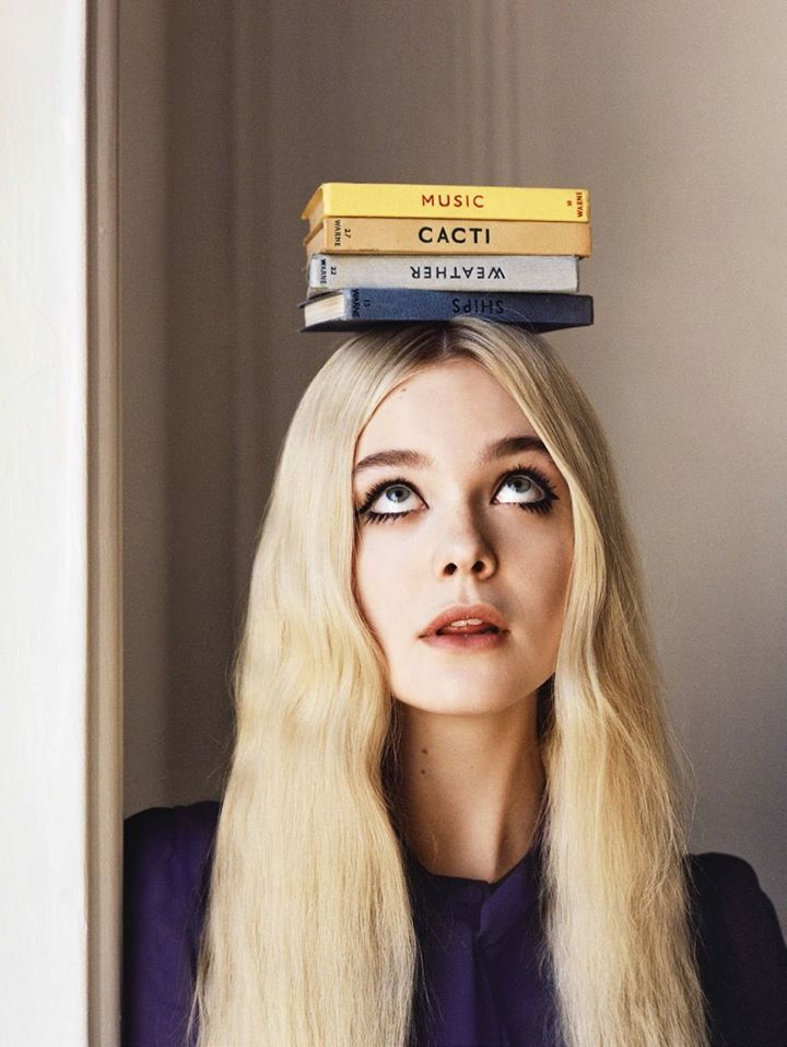 Balancing act.Angel Stylus, Uk June, Reading Book, Celebrities Portraits, Vogue Uk, British Vogue, June 2014, Tional Fans, Elle Fanning