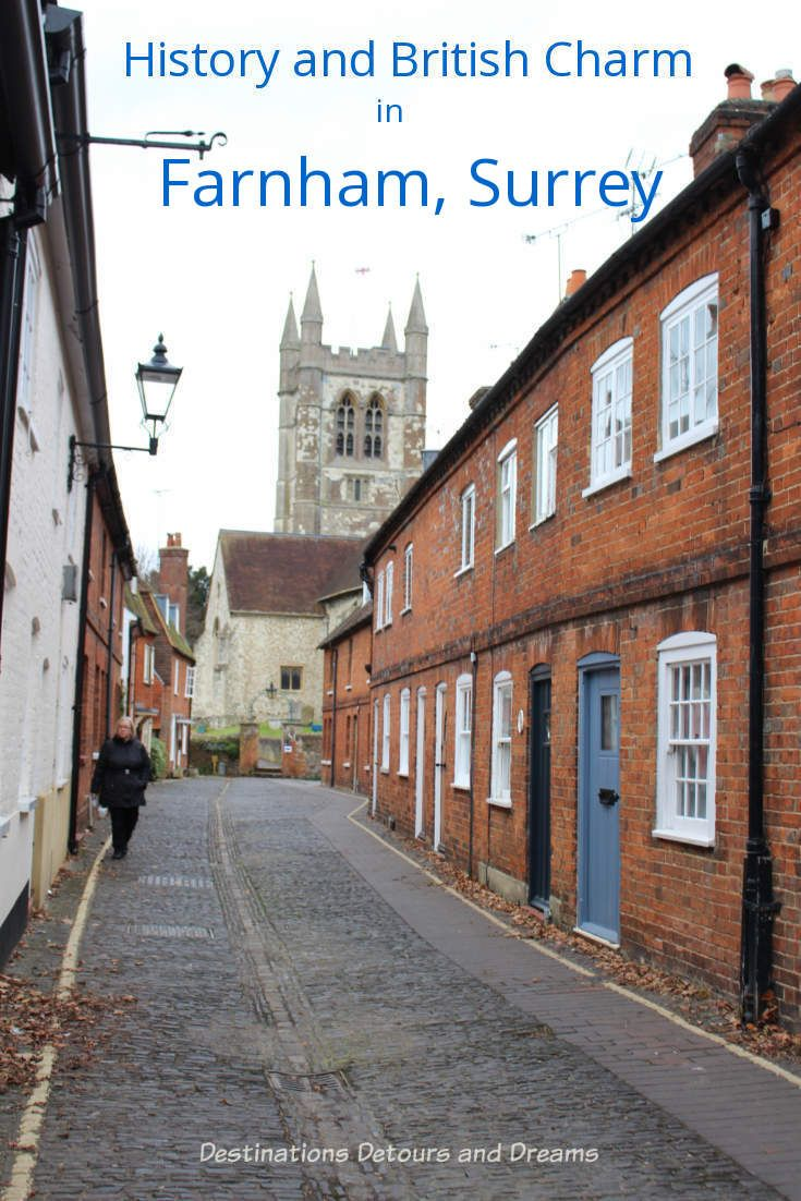 History and British Charm in Farnham. Farnham is a historic British market town located on the western edges of Surrey in the rolling Surrey Hills. It is known for its Georgian streets, historic buildings, craft heritage, and easy access to the North Downs Way. #Surrey #England #history #British #castle #Farnham