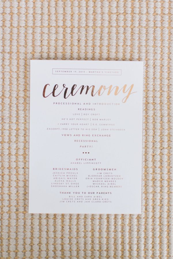 elegant modern gold foil wedding ceremony program with calligraphy script font | colourful DIY Martha's Vineyard wedding