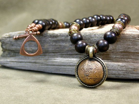 Mens Necklace  Pendant Necklace  Wood Necklace by StoneWearDesigns,