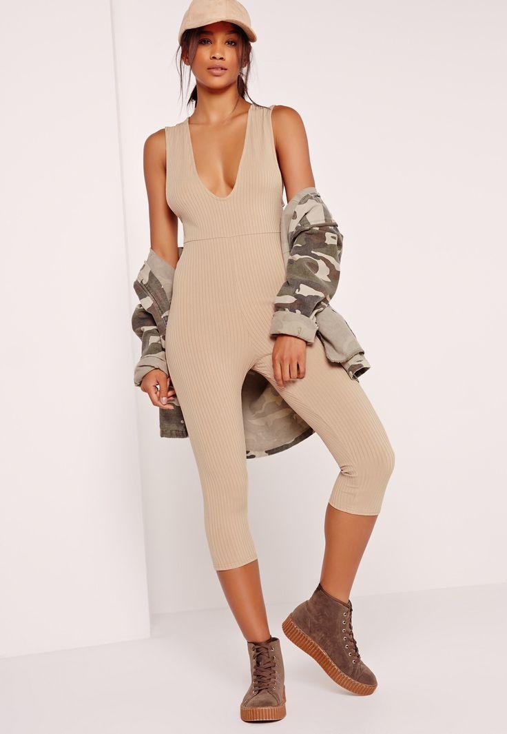 Missguided - Ribbed Sleeveless 3/4 Leg Jumpsuit Camel