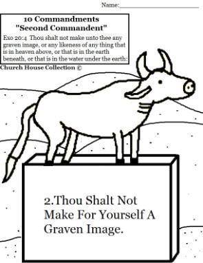 Thou Shalt Not Make For Yourself A Graven Image Coloring Page Ten Commandment Exodus 20