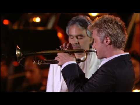 Chris Botti, Andrea Boccelli and David Foster rehearsing and performance.