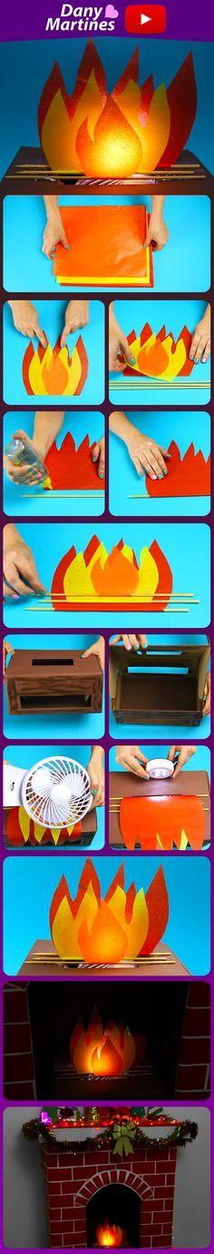 Faça você mesmo um fogo fogueira fake para decorar lareira no natal ou festa de são joão, DIY, do it yourself, Dany Martines