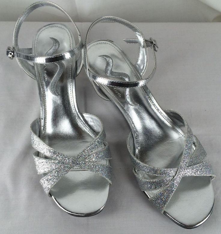 Nina 9 Silver Strappy Sandals Wedge Heels Wedding Homecoming Shoes #Nina #PlatformsWedges