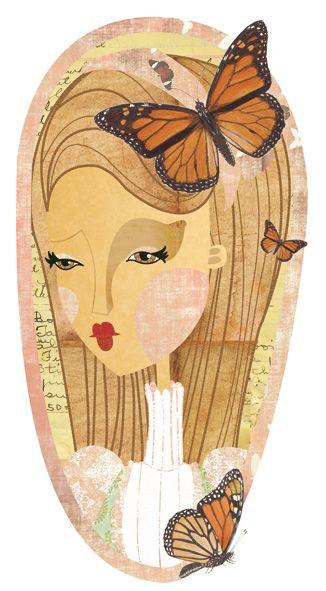 Mademoiselle Butterfly, ilustración infantil de Elena Catalán (Kipuruki)  Illustration by Elena Catalán (Kipuruki)