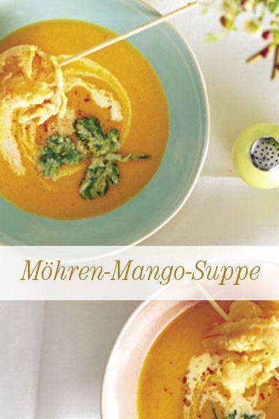 Möhren-Mango-Suppe: Möhren und Mango, mit Koriander verfeinert und mit Garnelen am Spieß dekoriert