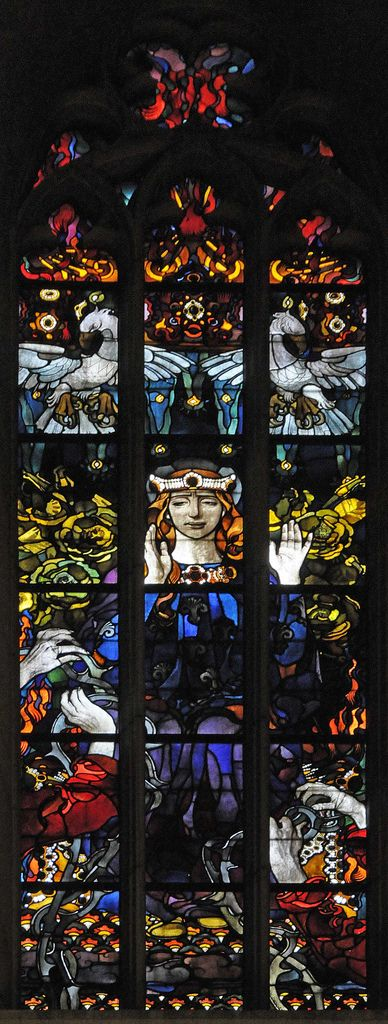 Stained glass window by Józef Mehoffer of Wawel cathedral, Kraków_ Poland: