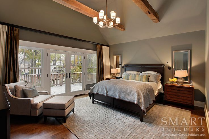 Contemporary Craftsman Style Custom Home  • Master Bedroom Suite • Hardwood Floors • Exposed Beam Ceiling • Master Bedroom Private Deck • SMART Builders, Inc.
