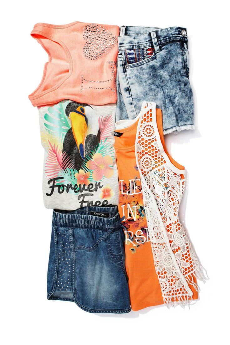 Acid-wash denim and crochet add a bohemian vibe to your little girl's wardrobe this summer. #looksforless #boho #girlsfashion #kidsfashion #summerfashion